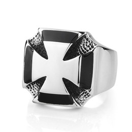 masonic gifts for men NZ - Punk Gothic Stainless Steel Men's Black Knights Templar Cross Masons freemasonry Masonic signet rings Gift Religitous jewelry For Man