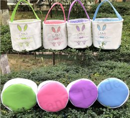 Diy Canvas Prints Australia - Canvas Easter Basket Rabbit Designer Printed Bucket Bags DIY Cute Easter Baskets Tote Bag Easter Eggs Gift Handbag Rabbit Put Basket 4 Color
