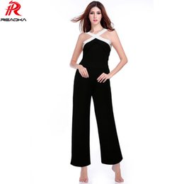 red club jumpsuits plus size NZ - Sexy Backless Rompers Womens Jumpsuit 2018 Night Club Plus Size Playsuits Wide Leg Halter Ladies Elegant Overalls Jumpsuits Y19060501
