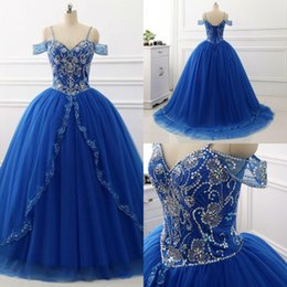 $enCountryForm.capitalKeyWord Australia - blue spaghetti straps ball gown prom dress princess beaded puffy tulle quinceanera dresses lace up elegant sweet 16 dresses 2019 plus size