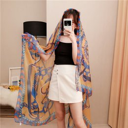 Chain Print Scarves Australia - Soft yarn summer new sunblock printed silk scarf women joker chain spring and autumn large scarf air conditioning shawl SSXY118