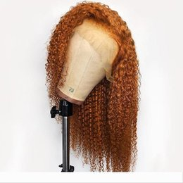 long hair for NZ - PAFF Orange Color Lace Front Curly Long Full Lace Real Human Hair Wig For Women Ginger Remy Brazilian Pre Plucked