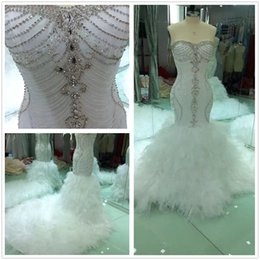 Organza Mermaid Wedding Dress Feathers Australia - Custom made beaded Sweetheart Hand Production 2019 New mermaid crystal wedding dresses floor Length tulle trumpet Tassel wedding gowns