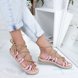 hot pink weave Canada - Hot Sale-Women's Summer Beach Weaving Sandals Soft New Fashion Rope ToeCross Tied Shoes Contrast Color Female Large Footwear