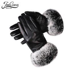 $enCountryForm.capitalKeyWord Australia - JOOLSCANA winter women leather gloves real rabbit fur wrist touch screen glove Italian imported genuine sheepskin mitten warm