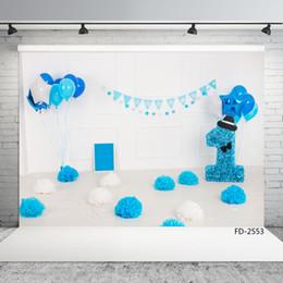 $enCountryForm.capitalKeyWord NZ - blue balloons decorations vinyl cloth photographic backgrounds for photo shoot 7X5ft children baby birthday party backdrops photo studio