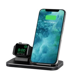 Carregador sem fio dual 2 em 1 suporte de telefone rápido carregamento docking station e titular compatível com iphone relógio / iphone para galaxy s10plus