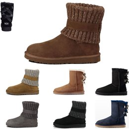 Discount fur boots australia - Women Winter Australia Classic Snow Boots fashion designers tall boots real leather Bailey Bowknot women's bailey b