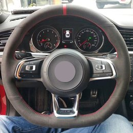 polo scirocco UK - Black Suede Car Steering Wheel Cover for Volkswagen Golf 7 GTI Golf R MK7 VW Polo GTI Scirocco 2015 2016
