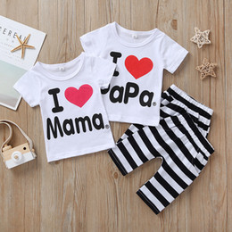 t shirt mama Canada - 2020 Newborn Baby Clothing Summer Set Baby Boys Girls I Love Papa and Mama short sleeve t-shirt+pants 2pcs Suit Kids Pajamas Set