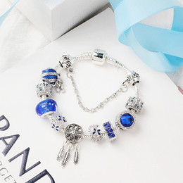bracelet dreamcatcher Australia - Pandora new dreamcatcher blue opal beaded bracelet blue crystal coloured glaze butterfly encircling Woman designer bracelet