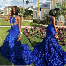 red rose flower girl dresses Canada - Royal Blue 2019 Mermaid Prom Dresses For Black Girls Evening Gowns Keyhole Neck Lace Appliques Rose Flowers Formal Dress