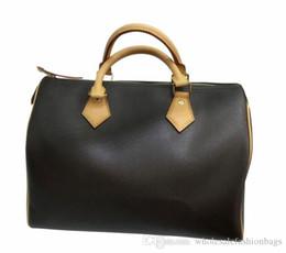 $enCountryForm.capitalKeyWord UK - classic speedy Brand new Top quality women Real oxidizing genuine Leather 25cm 30cm 35cm handbag WITH NO shoulder strap purse tote bag