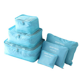 $enCountryForm.capitalKeyWord Australia - 6Pcs Waterproof Travel Storage Pouches Packing Cubes Luggage Clothes Organizers Clothes Storage Bags Zipper - Light Blue