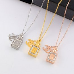 Titanium Coins Australia - Luxury Necklace Brand C perfume bottle Necklace with diamond 18K titanium steel crystal gold coin lovers accessories
