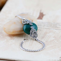 $enCountryForm.capitalKeyWord Canada - Vintage Jewelry 925 Sterling Silver Chain with Palace Style Inlaid Synthetic Green Agate Charm Bracelet Women Gift