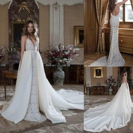 $enCountryForm.capitalKeyWord NZ - Gorgeous Berta Lace Sheath Wedding Dresses With Detachable Overskit Sexy Deep V Neck Backless Chapel Train Sleeveless Bohemian Bridal Gowns