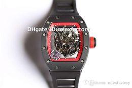 $enCountryForm.capitalKeyWord Australia - Z New Luxury 055 Watch ATPT Black Ceramic Case Skeleton Dial Swiss 8215 Automatic Red Bezel Sapphire Spline Screws Sport Mens Watch