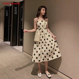 Fairy Style Dresses UK - Women Summer Dress Dot Print Light Kakhi Sundress 2019 New Style Ladies Fashion Clothing Vestidos Verano De Festa Fairy Dreams