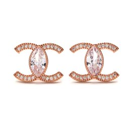 Double letter jewelry online shopping - Brand designer jewelry woman earrings European new double C letter stud earrings High quality temperament crystal earrings