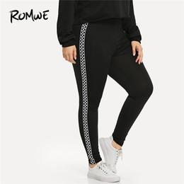 Discount plus size woman gym tights - Romwe Sport Plus Size Black Plaid Contrast Checkered Skinny Leggings Fitness Yoga Pants Gym Women 2019 Sportswear Yoga T