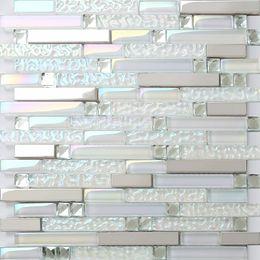 Стеклянная мозаика кухонная плитка Backsplash ванной душевая плитка SSMT399 серебристый металл мозаика из нержавеющей стали на Распродаже