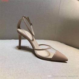 Strap Strip Australia - High-heeled sandals two slim translucent PVC strap sexy big Fashion strip high-heeled Stitching head Pointed sandals