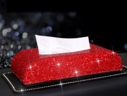 $enCountryForm.capitalKeyWord Australia - Bling Crystal Car Tissue Box Sun Visor Diamond Leather Auto Tissue Paper Holder Case Sunvisor Hanging Napkin Car Accessories