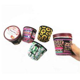 Ice Cream Cover néoprène imprimé léopard tournesol avec Covers Cooler Cactus Lolly Sacs sorbetière Porte-outils de cas YP166 en Solde