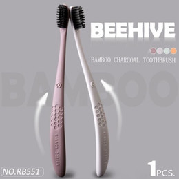Charcoal Hair Australia - Honeycomb bamboo charcoal adult soft hair toothbrush Supermarket family tooth cleaning brush single stick wholesale RB551