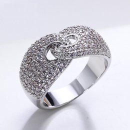Gold Rings Photos NZ - White and gold-color ring shiny cubic zirconia stones as photos Trendy elegant jewelry accessories rings for women