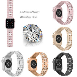 rhinestone bands for watch UK - Fashion Bling Metal Wristband Strap For Apple Watch Band 40mm 44mm 38mm 42mm iWatch Series 4 3 2 1 Rhinestone Stainless Steel Bracelet