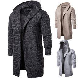 Wholesale sheer knit cardigan for sale - Group buy Mens Fashion Designer Jackets Mens Hoodie Cardigan Neck Long Sleeve Outerwear Winter Warm Gentlemen Long Knit Coats