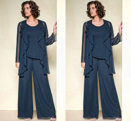 $enCountryForm.capitalKeyWord Australia - Chiffon Mother Of The Bride Pant Suits 2019 Summer Long Sleeve Custom Made Plus Size Mother Pant Suits