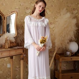 Victorian Sleep Lounge Vintage Nightgown Autumn Women Sleepwear Lace Ruffle  Night Wear Home Dress Pink Cotton Lounge Wear e69d6ee3d