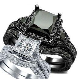 $enCountryForm.capitalKeyWord Australia - SZ 4 12 Black Rhodium Princess Cut Onyx Wedding Engagement Ring Set Propose Statement Bridal Halo Cocktail Promise Anniversary SZ 4-12 Black