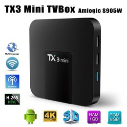 Wholesalers Android Boxes Australia - TX3 Mini Smart TV Box Amlogic S905W WiFi Android 7.1 1G+8G 4K HD 1.5GHz Set-top TV Box 2.4GHz Media Player..