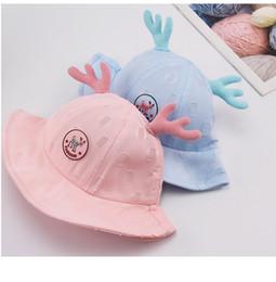 Cartoon Big Boys Australia - Spring Baby Fisherman's Hat Summer Boys and Girls Antlers Big Foot Children's Thin Bonnet Hat Cute Cartoon Shade Hat