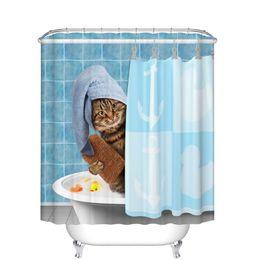 $enCountryForm.capitalKeyWord Canada - DIY Unique Animals Funny Kitten Cat Bathing Decor Bathroom Shower Curtain 3D Printing Waterproof Soap and Mildew Resistant Machine Washable