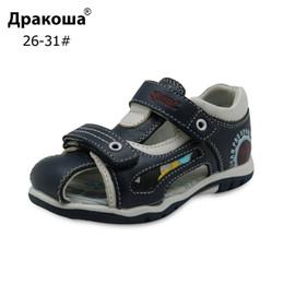 Discount sandal kids brand - Apakowa Brand New 2018 Boys Sandals Genuine Leather Children's Shoes for Boys Flat Closed Toe Orthopedic Kids Sanda