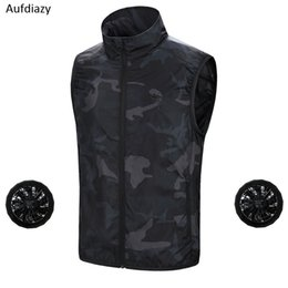 smart clothes Australia - Aufdiazy Air Conditioning Vest USB Cooling Fan Jacket For High Temperature Outdoor Working Fishing Summer Smart Clothes IM058