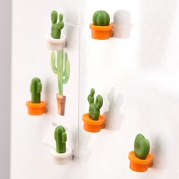 $enCountryForm.capitalKeyWord Australia - 6pcs Cactus Fridge Magnets Patch Fridge Decoration Cute Succulent Plant Magnet Button Cactus Refrigerator Message Sticker Magn