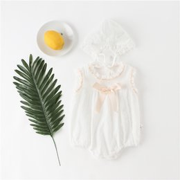 Blank tie online shopping - Summer INS Toddler Baby Girls Blank White Rompers With Hat Suits Ruffles Collar Sleeveles Back Button Front Tie Newborn Jumpsuits T