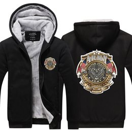 Marine Cotton Australia - Men Casual Thicken Hooded Sweatshirts US Marine Corps Print Cotton Zipper Hoodies Winter Cardigan Jacket Coat Pullover Tops USA EU Size