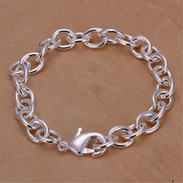 silver chains for sale cheap UK - Cheap Chain & Link Bracelets Hot sales silver-color bracelet for women high quality fashion jewelry elegant lovely lady men for charms cute