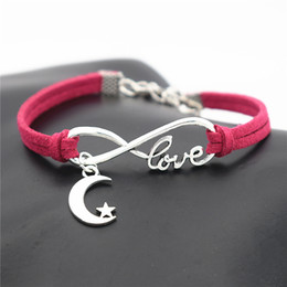 $enCountryForm.capitalKeyWord Australia - 2019 New Vintage Silver Infinity Love Moon Stars Pendant Charm Fit Bracelets & Bangles Rose Red Leather Suede Rope DIY Original Jewelry Gift