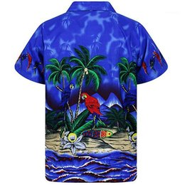 Wholesale clothing hawaii online – design Beach Shirt Coconut Print Summer Holidays Clothes Designer Quick Drying Homme Casual Shirts Hawaii Styles Mens