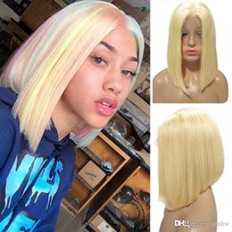 blonde colored hair Australia - Bob Lace Front Human Hair Wigs Short Blonde Colored Virgin Malaysian Glueless Pre Plucked 613 Blonde Full Lace Ombre Bob Wig Bleached Knots