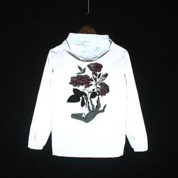 Rising Hands NZ - 19ss 3M Reflective Jackets Men Women Ghost hand Rose Flower Coats Windbreaker and Coats Doudoune Homme Cazadora Hombre Clothes