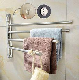 Hot Bar Australia - Wholesales Free shipping Hot sales Brushed Nickel Stainless Steel Self Adhesive Swivel towel Bar Bathroom